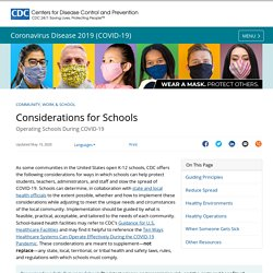 Considerations for Schools