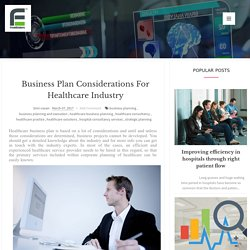 Business Plan Considerations for Healthcare Industry
