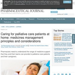 Caring for palliative care patients at home. Pharmaceutical Journal 2020