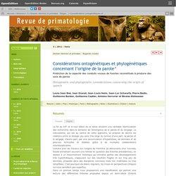Considérations ontogénétiques et phylogénétiques concernant l'origine de la parole