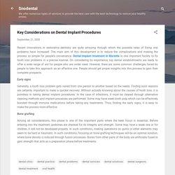 Key Considerations on Dental Implant Procedures