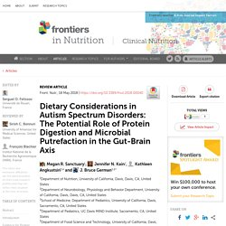 Dietary Considerations in Autism Spectrum Disorders: The Potential Role of Protein Digestion and Microbial Putrefaction in the Gut-Brain Axis