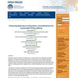 Fostering Openness in Education: Considerations for Sustainable Policy-Making