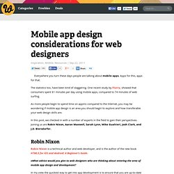 Mobile app design considerations for web designers