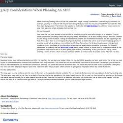 3 Key Considerations When Planning An ADU