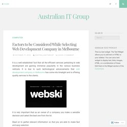 Professional Web Development Company in Melbourne