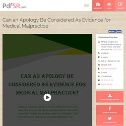 Can an Apology Be Considered As Evidence for Medical Malpractice - PdfSR.com