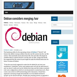 Debian considers merging /usr - dralnuX