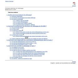 Consignes générales de catalogage