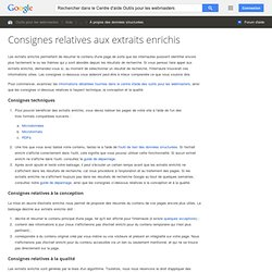 Rich snippets guidelines - Centre d'aide Outilspourleswebmasters