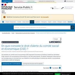 En quoi consiste le droit d'alerte du comité social et économique (CSE)?