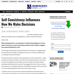 Self Consistency Influences How We Make Decisions