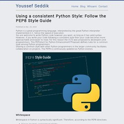 Using a consistent Python Style: Follow the PEP8 Style Guide