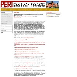 PERI: : Does High Public Debt Consistently Stifle Economic Growth? A Critique of Reinhart and Rogo ff