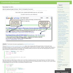 Web Scraping Google Scholar: Part 2 (Complete Success) « Consistently Infrequent