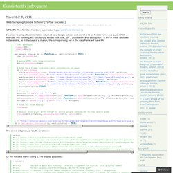Web Scraping Google Scholar (Partial Success) « Consistently Infrequent