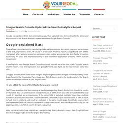 Google Search Console Updated the Search Analytics Report - YourSeoPal.com