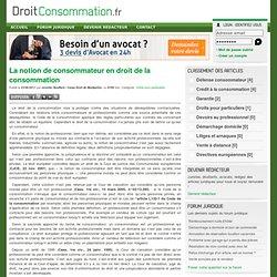 La notion de consommateur en droit de la consommation