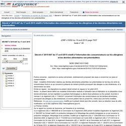 Décret n° 2015-447 du 17 avril 2015 relatif à l'information des consommateurs sur les allergènes et les denrées alimentaires non préemballées