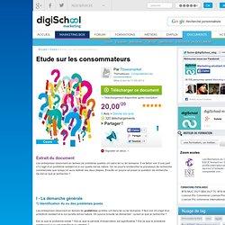 Etude sur les consommateurs, cours marketing à télécharger gratuitement