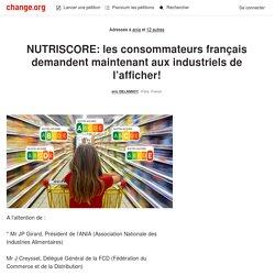 NUTRISCORE: les consommateurs francais demandent maintenant aux industriels de l'afficher!