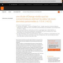une étude d'Orange révèle que les consommateurs estiment la valeur de leurs données personnelles à 170 € (140 £)