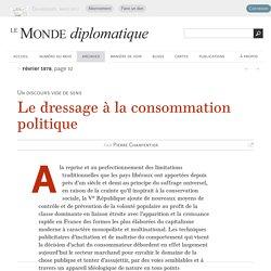 Le dressage à la consommation politique, par Pierre Charpentier (Le Monde diplomatique, février 1978)