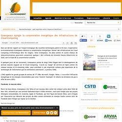 Greenpeace épingle la consommation énergétique des infrastructures de Cloud Computing
