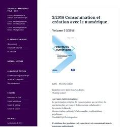 3/2016 Consommation et création avec le numérique – Interfaces numériques