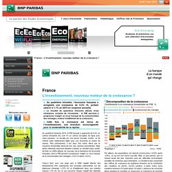 Croissance - Consommation - Investissement - France - Etudes économiques - BNP Paribas