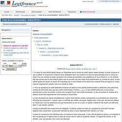 Code de la consommation - Article R313-1