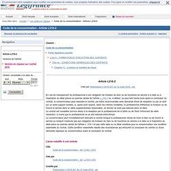Code de la consommation - Article L216-2