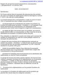 Conseil national de la Consommation: rapport sur la parapharmacie (BOCCRF 2005-09)