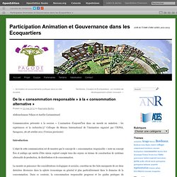 Participation Animation et Gouvernance dans les Ecoquartiers