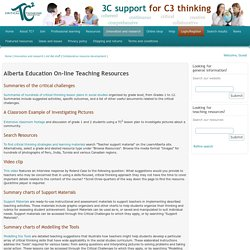 The Critical Thinking Consortium, Alberta Education On-line Teaching Resources
