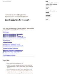 The London Consortium » Useful resources for research