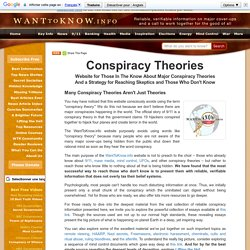 Conspiracy Theories: 911 Conspiracy Theory, Health, Mass Media, Mind Control, UFO conspiracies
