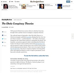 The Ebola Conspiracy Theories - NYTimes.com