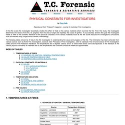T.C. Forensic: Article 10 - PHYSICAL CONSTANTS FOR INVESTIGATORS