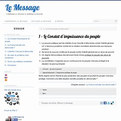 1 – Le Constat d'impuissance du peuple | Le Message