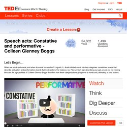 Speech acts: Constative and performative - Colleen Glenney Boggs