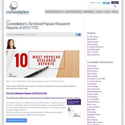 Constellation's Ten Most Popular Research Reports of 2015 YTD