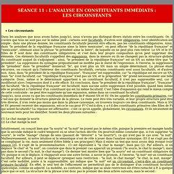 L'analyse en constituants immédiats : les circonstants
