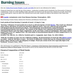 Chemical Constituents and Molds of Wood Smoke, Woodsmoke, Wood burning, Woodburning, Biomass burning. Lead, Cyanide, Dioxin and Radioactive particles from Wood burning.
