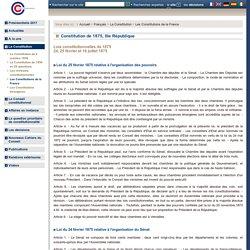Constitution de 1875, IIIe République