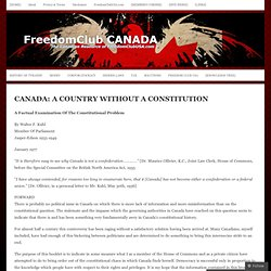 CANADA: A COUNTRY WITHOUT A CONSTITUTION