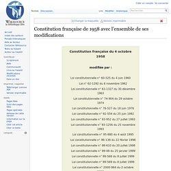 Constitution française de 1958 avec l'ensemble de ses modifications