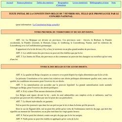 Constitution belge, telle que promulguée le 7 février 1831