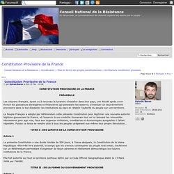 Constitution Provisoire de la France