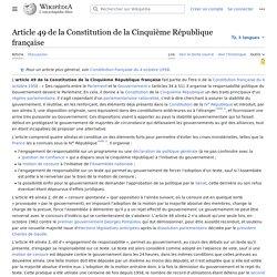Article 49 de la Constitution de la Cinquième République française